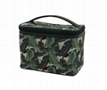 Full leaves polyester matt coate beauty lady cosmetic case in dark green colour
