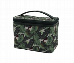 Full leaves polyester matt coate beauty lady cosmetic case in dark green colour
