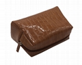 Crocodile pattern PVC lady beauty lady cosmetic bag in brown colour