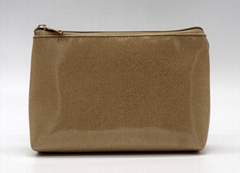 Glitter PU goldc beauty women cosmetic bag for travel