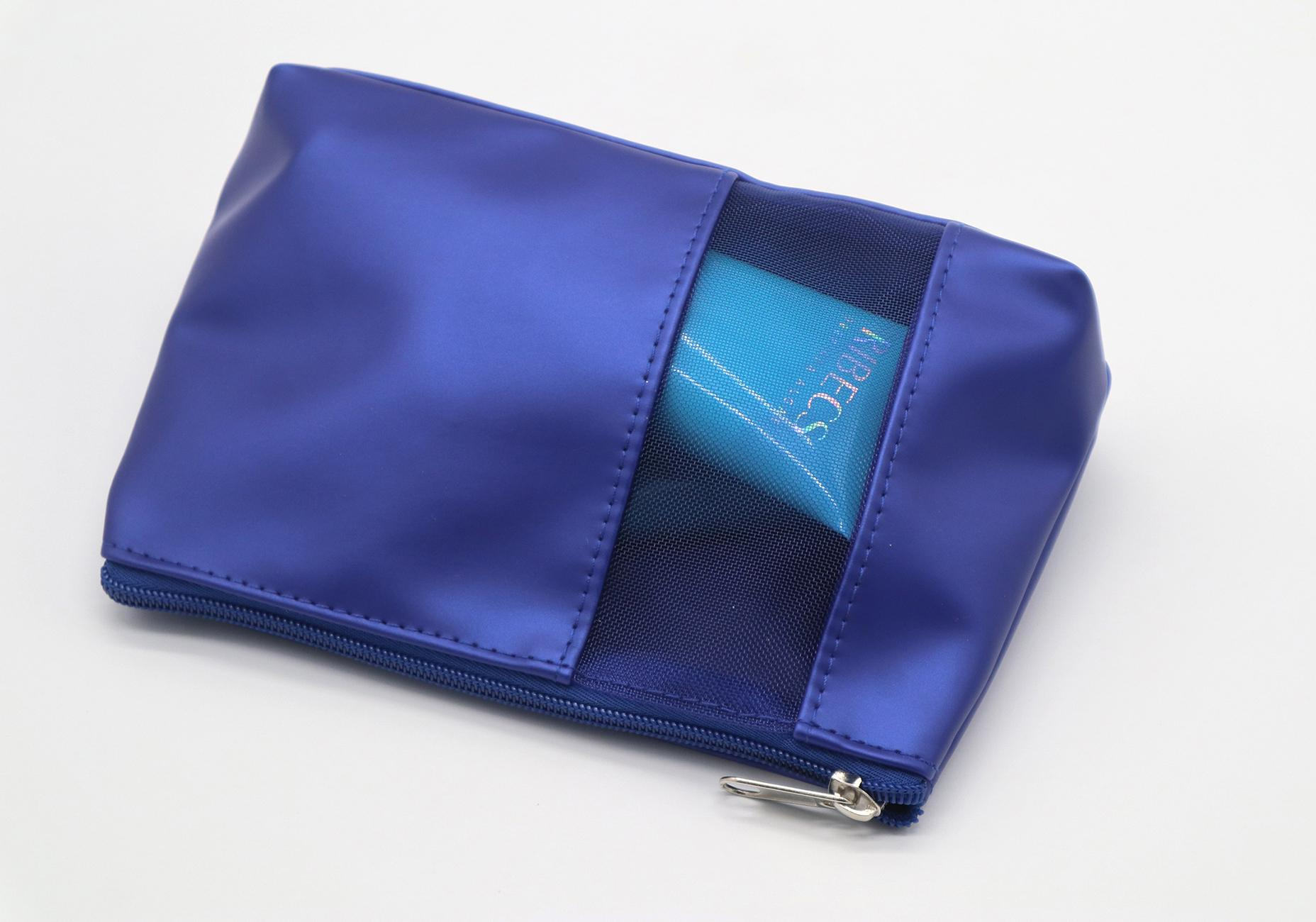 Promotion gift PU made beauty PU cosmetic bag with mesh window  4