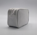 600D polyester TPE base white promotion cosmetic bag with double zippers