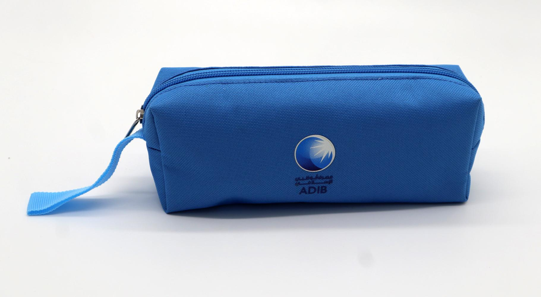 600D polyester children pencil pouch with polyester webbing handle 3