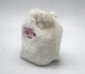 Fake fur lovely small drawstring bag in white with embroidery logo on front