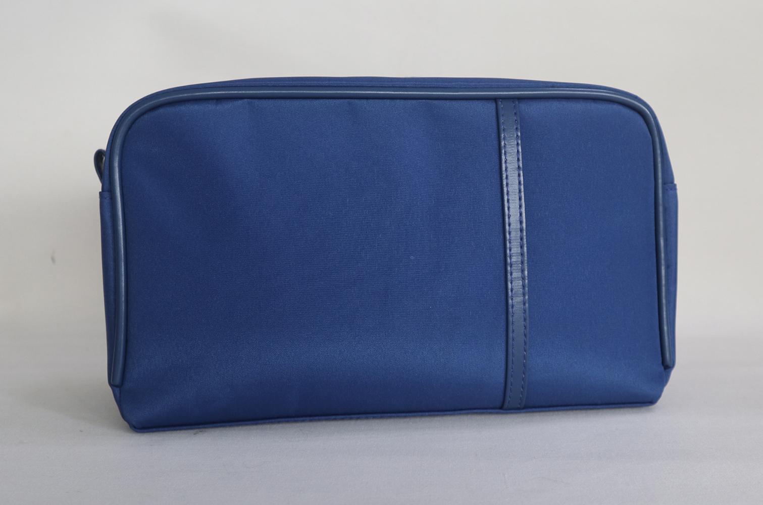 Navy microfiber large men makeup bag for travel with slim PU band at front