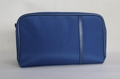 Navy microfiber large men makeup bag for