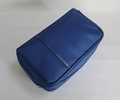 Navy microfiber large men makeup bag for travel with slim PU band at front