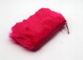 Fake fur cute lady makeup bag pink color with glitter band at top