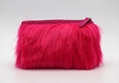 Fake fur cute lady makeup bag pink color