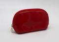 Bright vinyl PVC promotion gift travel cosmetic pouch bag for women in red