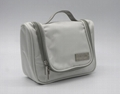 1680D polyester unisex small white travel toiletry bag with mirror