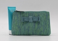PP woven beauty lady cosmetic pouch with bow in malachite green colour