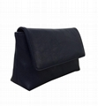 Genuine leather women purse in navy blue with flap