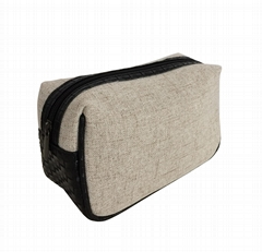 Linen made men's beauty makeup bag with woven PVC at the bottom