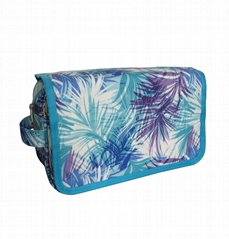 Polyester coated waterproof multifunction toiletry bag with removable pockets