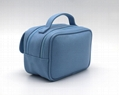 Double open portable carrying lady beauty makeup bag with pocket under flap