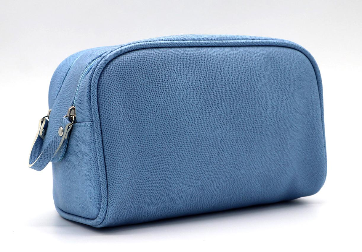 PU made beauty women cosmetic bag with double zipper opens