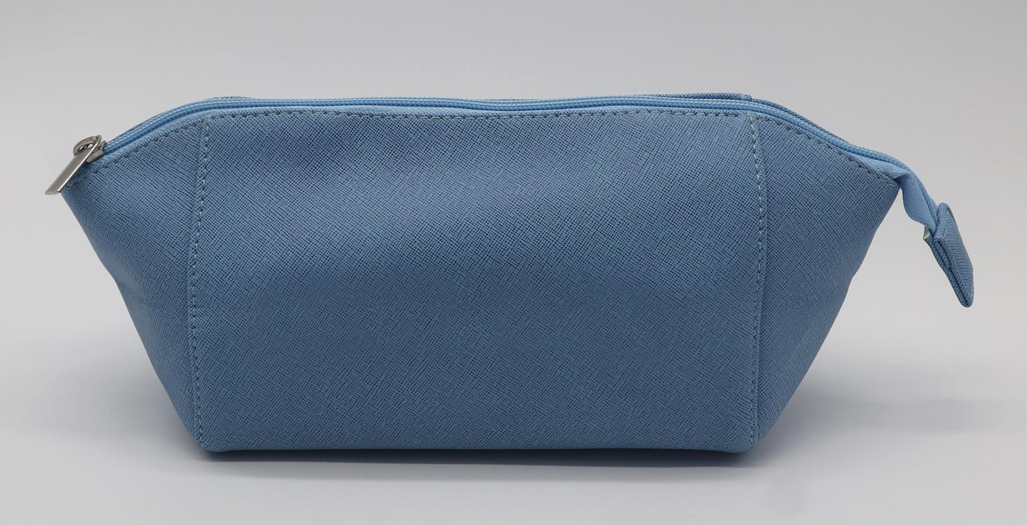 Cross pattern PU beauty lady shell shape cosmetic bag in smog blue colour