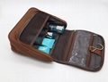 600D polyester unisex brown colour toiletry bag for gym with inner pockets