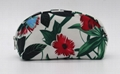 Shell shape beauty lady cheap cosmetic bag with flower and leaves full prints