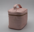 PU cross pattern beauty lady cosmetic case with handle in light pink color