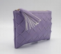 Real PU weave beauty lady clutch bag with tassel tab