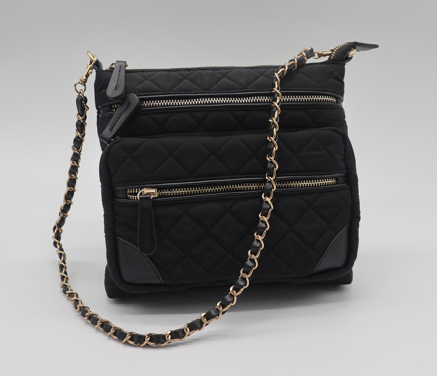 Nylon quilted fashion beauty women's multifunction shoulder bag w/ three straps 1