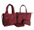 Beauty ladies nylon camouflage waterproof tote bag in garnet colour  4