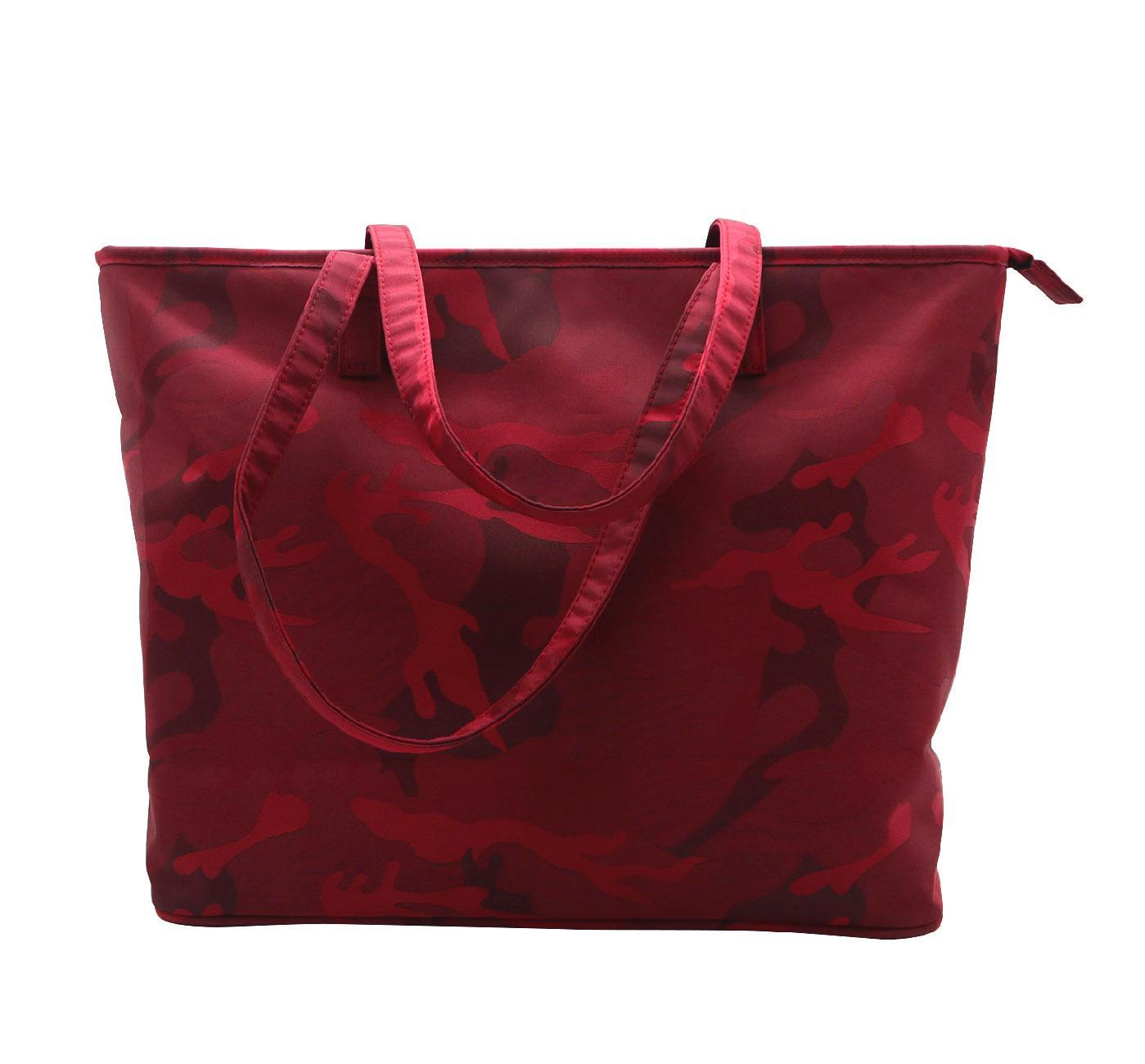 Beauty ladies nylon camouflage waterproof tote bag in garnet colour  1