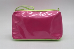Shiny PU large size contrast colour women's cosmetic organizer bag with handle