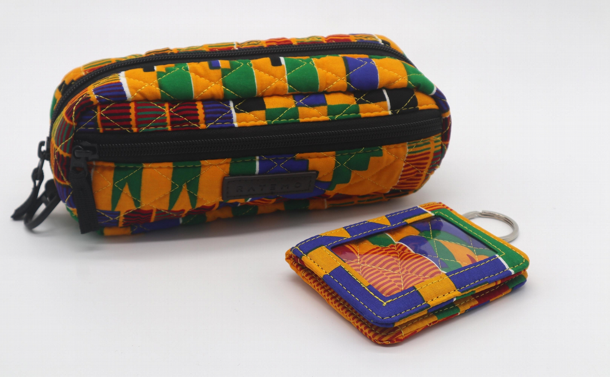 Ankara printed cotton with diamond quilted stylish pencil pouch 6