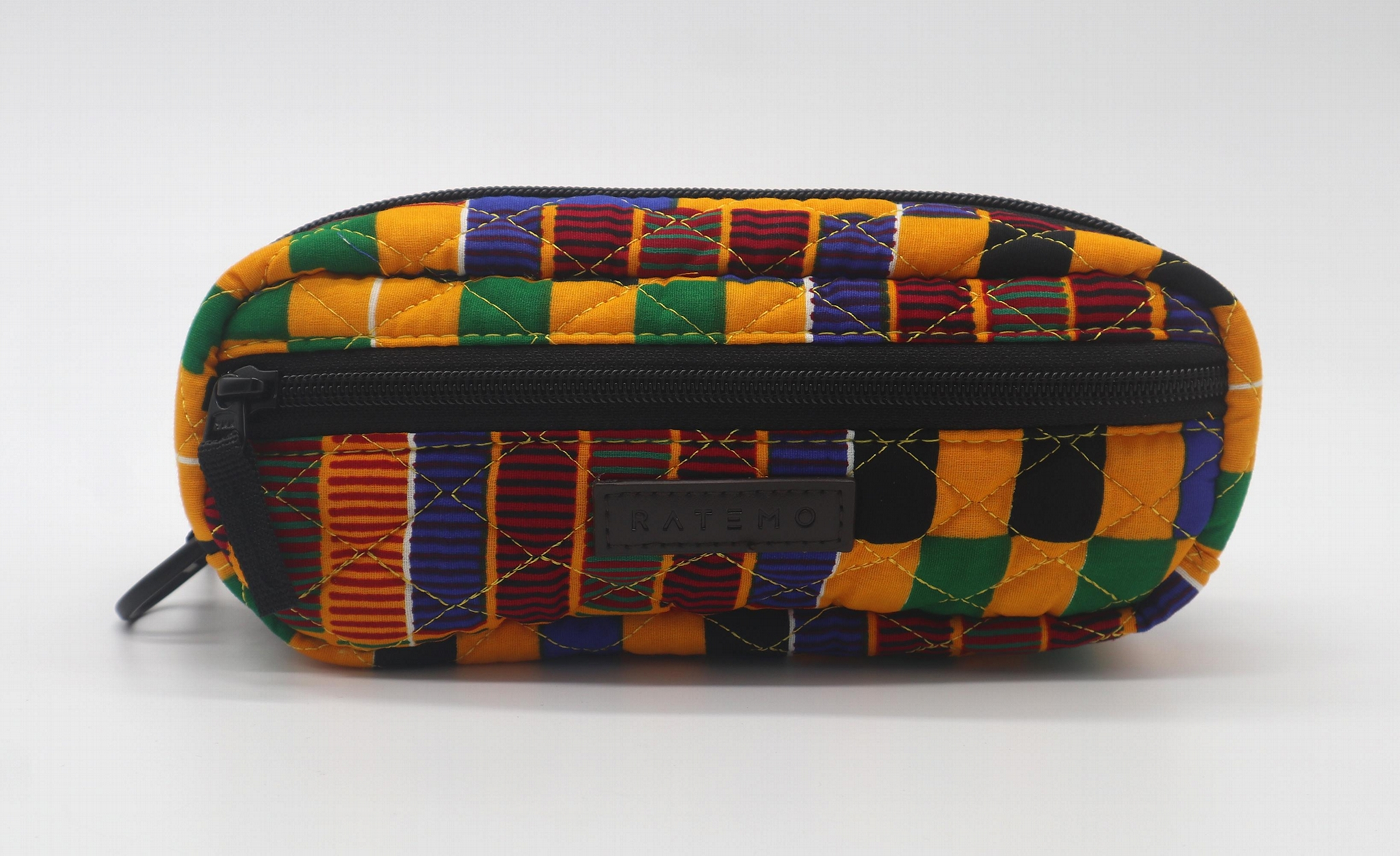 Ankara printed cotton with diamond quilted stylish pencil pouch 1