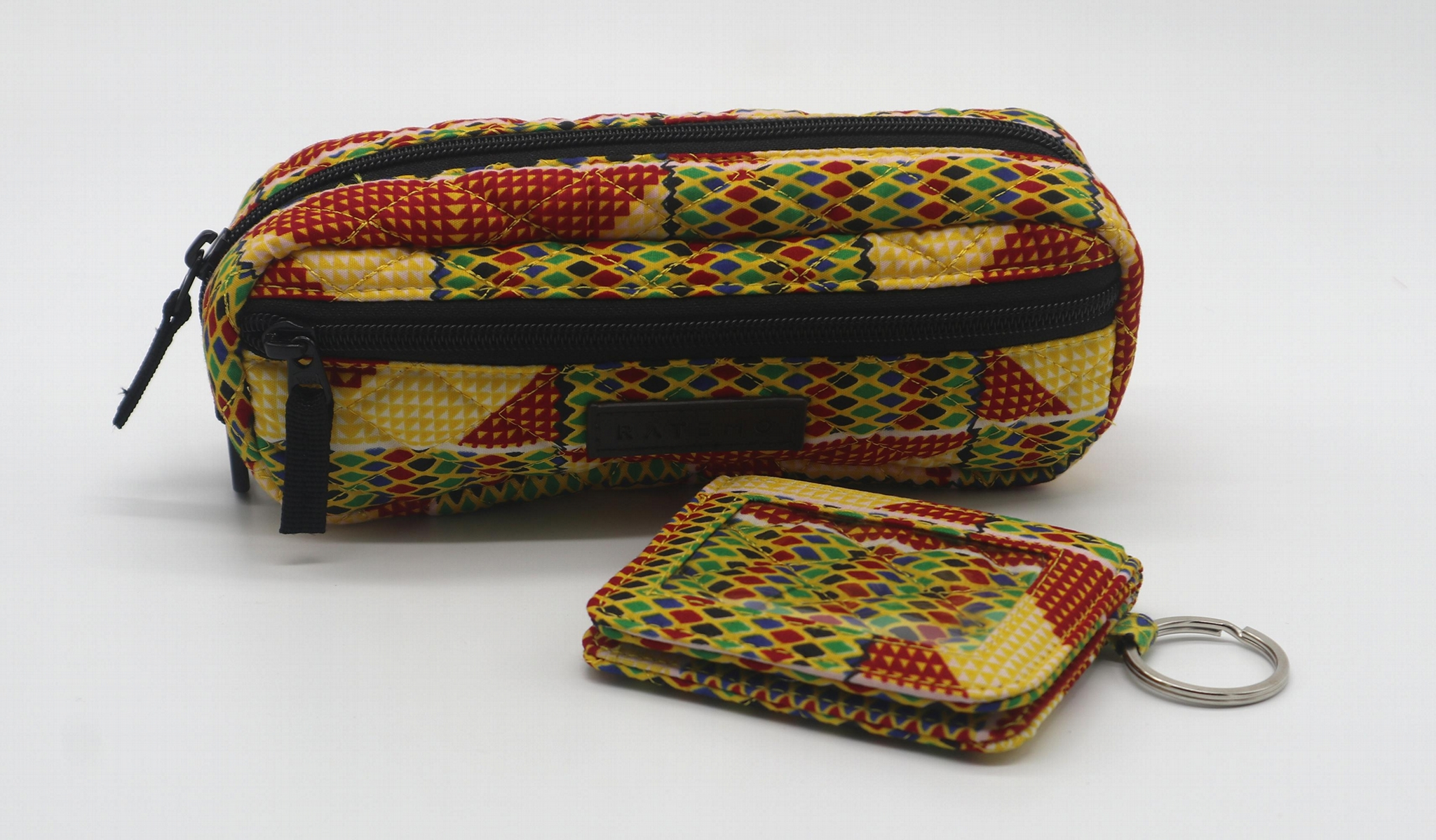 Ankara printed cotton quilted pencil case with double zippers 6