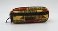 Ankara printed cotton quilted pencil case with double zippers