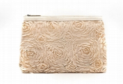 Clear PVC covered with lace fantastic large size lady clutch bag