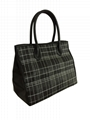 Splicing style woven with PU charming women black tote bag