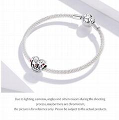 925 Sterling Si  er Family Charm Thanksgiving heart-shaped DIY Bracelet Accessor