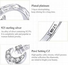 Platinum Zircon 925 Sterling Si  er Moon Star Ring Fashion Retro Opening Adjusta