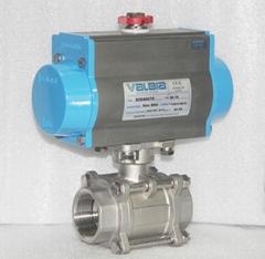 three pieces pneumatic ball valve