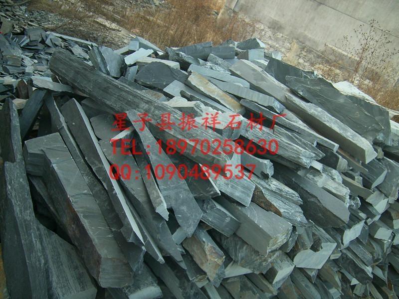 天然外牆青石板亂板黑色毛邊條文化石亂型碎拼板岩外牆磚批發 2