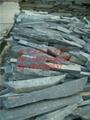 天然外牆青石板亂板黑色毛邊條文化石亂型碎拼板岩外牆磚批發 3
