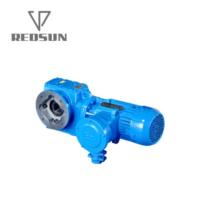 SAF series helical worm hollow shaft gear box with flange output 1