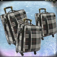 3 sizes Convenient taking polyester/EVA luggage case on wheels