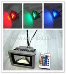 RGB 10W LED 投光燈 帶遙控115X85X85mm