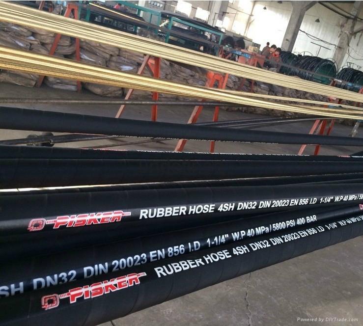 High Pressure Steel Wire Spiraled Hose DIN EN 856 4SH Hydraulic Hose Manufacture 4