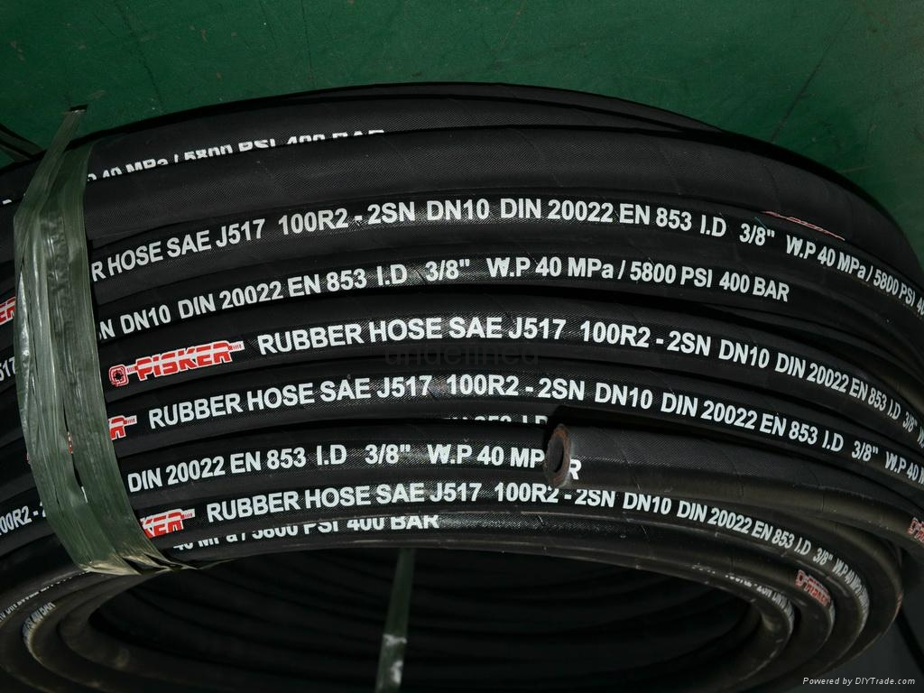 Steel Wire Braid Hydraulic Rubber Hose SAE 100 R2 AT Rubber Hoses 4