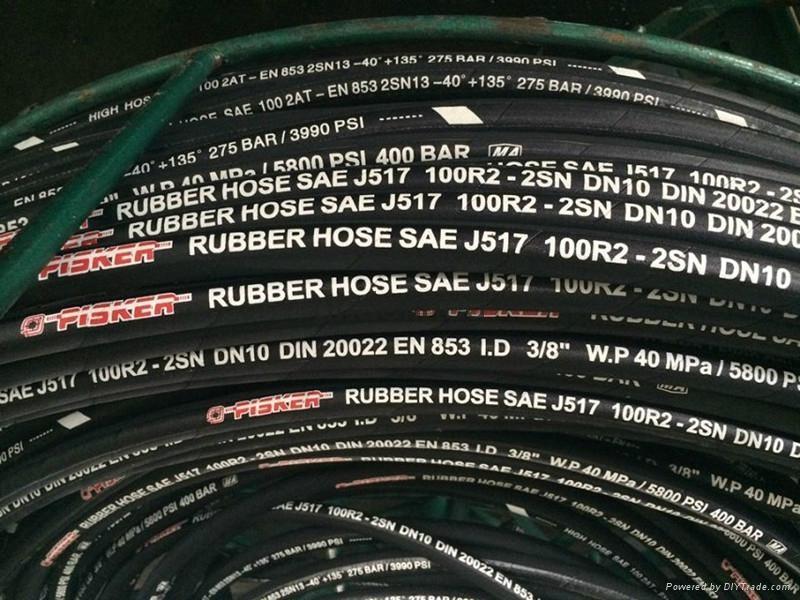 High Pressure Wire Braided Rubber Hose DIN EN 853 2SN Hydraulic Hose 3