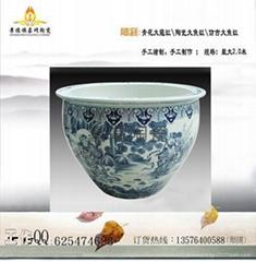 定制青花陶瓷大鱼缸