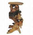 Handly Carved Fir  Root Wood  Flower Stand 1