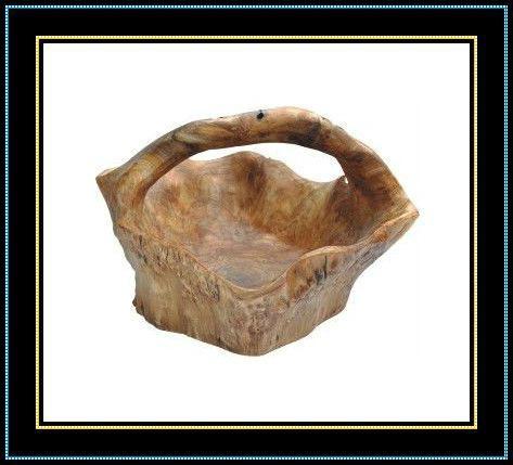 Wooden Fir Root Handly Carved Medium Root Basket 1